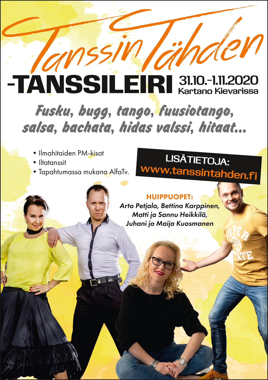Tanssin tähden -tanssileiri 31.10. - 01.11.2020 Kartano Kievarissa peruttu uusien koronasuositusten vuoksi
